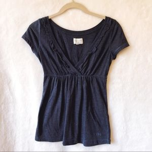 Gilly Hicks Navy Blue V-Neck Ruffles Top